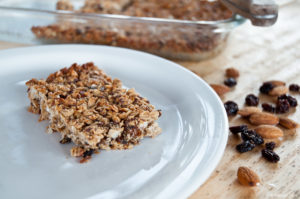 Granola bar with almonds, dried fruit etc
