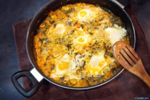 eggs baked in tomato veg sauce