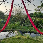 Aerial Silk set up in geodesic dome