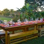 Farm to table dinner prepared for sunset