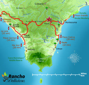 Southern Nicoya Peninsula Surf Spots Map - Costa Rica